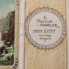 Coleccionismo Calendarios: ANTIGUO LIBRITO ALMANAQUE CALENDARIO. CHOCOLATES AMATLLER, MARCA LUNA BARCELONA PAISAJES PPIOS XX AA. Lote 245370765