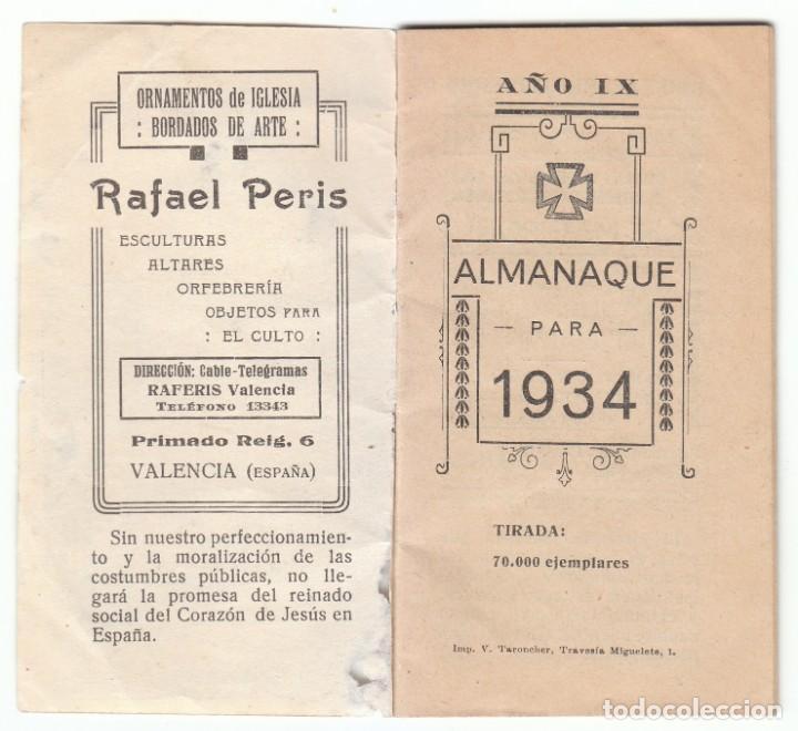 ANTIGUO CALENDARIO SANTORAL ALMANAQUE 1934 PUBLICIDAD VALENCIA TORTOSA VINALESA ALCAZAR SAN JUAN AA (Coleccionismo - Calendarios)
