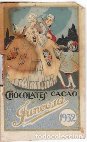 ANTIGUO CALENDARIO SANTORAL ALMANAQUE CACAO CHOCOLATES JUNCOSA, BARCELONA 1932 AA (Coleccionismo - Calendarios)