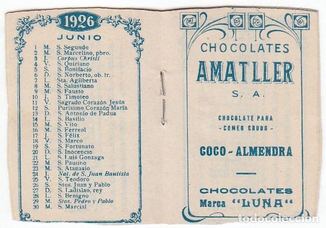 Coleccionismo Calendarios: Precioso calendario santoral almanaque Cacao chocolates Amatller, Barcelona 1926 aa - Foto 2 - 245382465