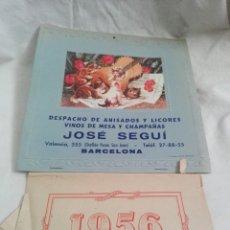 Coleccionismo Calendarios: CALENDARIO DE GATOS 1956 ANISADOS, LICORES, VINOS Y CAMPAÑAS JOSÉ SEGUI. Lote 263776295