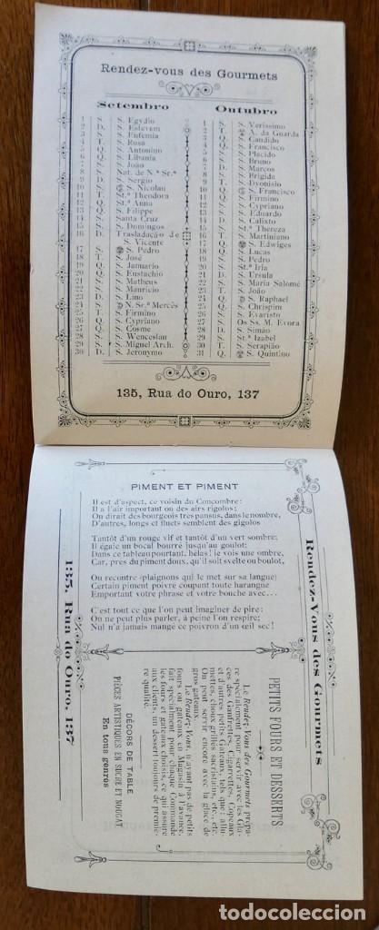 Coleccionismo Calendarios: CALENDARIO RENDEZ- VOUS DES GOURMETS- LISBONNE - 1906 - Foto 6 - 276921108