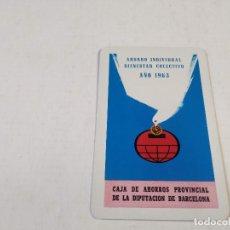 Coleccionismo Calendarios: CALENDARIO BOLSILLO FOURNIER CAJA PROVINCIAL DE LA DIPUTACIÓN DE BARCELONA - AÑO 1963. Lote 288050938