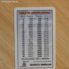 Coleccionismo Calendarios: CALENDARIO FOURNIER. BANCO SIMEON. TABLA DE EQUIVALENCIAS EUROS - PESETAS. AÑO 2000.. Lote 288079903
