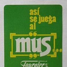 Coleccionismo Calendarios: CALENDARIO DE FOURNIER , MUS, AÑO EN COLOR NEGRO, AÑO 1987. Lote 288490448