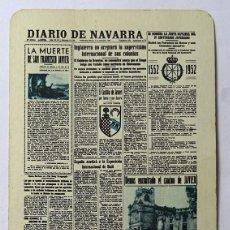 Coleccionismo Calendarios: CALENDARIO DE FOURNIER , DIARIO DE NAVARRA, AÑO 1952. Lote 288490578