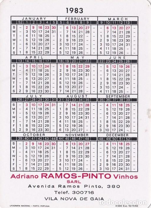 Coleccionismo Calendarios: CALENDARIO PORTUGAL 1983 - ADRIANO RAMOS PINTO - VINOS DE OPORTO (MESES EN INGLES) - Foto 2 - 288577533