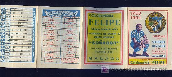 CALENDARIO. CAMPEONATO DE LIGA. 53 - 54 CON PUBLICIDAD DE MALAGA. (Coleccionismo Deportivo - Documentos de Deportes - Calendarios)