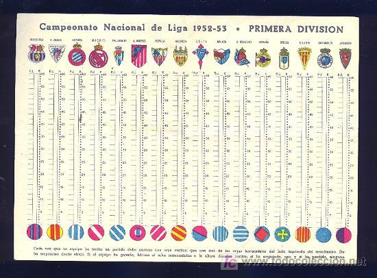 Coleccionismo deportivo: CALENDARIO. CAMPEONATO DE LIGA 52 - 53 CON PUBLICIDAD DE MALAGA. - Foto 2 - 18214182