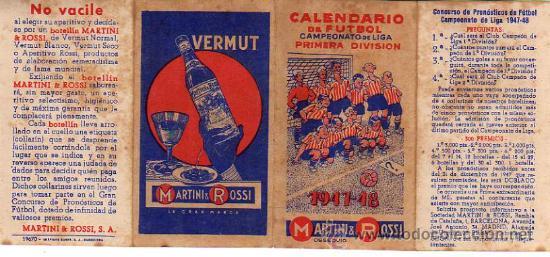 CALENDARIO DE FUTBOL-CUATRO HOJITAS- VERMUT MARTINI-ROSSI-1947-48 (Coleccionismo Deportivo - Documentos de Deportes - Calendarios)