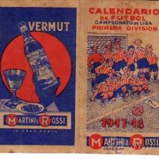 Coleccionismo deportivo: CALENDARIO DE FUTBOL-CUATRO HOJITAS- VERMUT MARTINI-ROSSI-1947-48. Lote 26862977