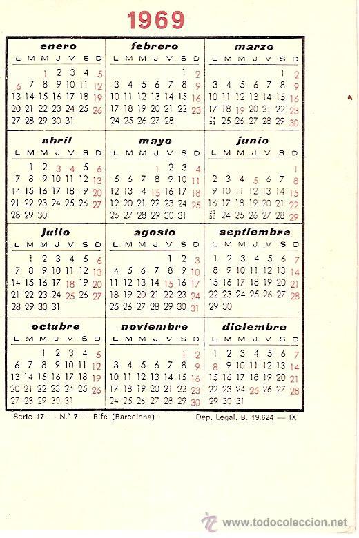 Calendario Del Ano 1969.Jugador F C Barcelona Rife Calendario Bolsillo Ano 1969