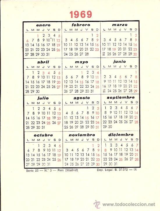 Calendario Del Ano 1969.Jugador Real Madrid F C Pirri Calendario Bolsillo Ano 1969