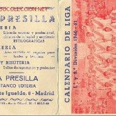 Calendario de Liga 1960-61 - Adrian Martinez Contratista de obras