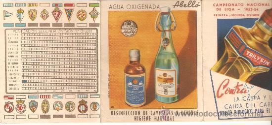 Coleccionismo deportivo: calendario campeonato nacional de liga 1953-54.publicidad agua oxig.abello y trilysin.ver +fotos. - Foto 2 - 26607334