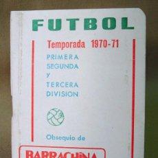 Coleccionismo deportivo: CALENDARIO CAMPEONATO FUTBOL LIGA 1970 - 1971 BARRACHINA VALENCIA CF. Lote 13031421