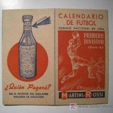 Coleccionismo deportivo: CALENDARIO FUTBOL LIGA 1944-45 (MARTINI ROSSI). Lote 13514062
