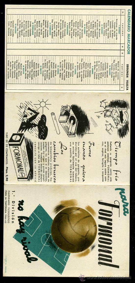 CALENDARIO TRIPTICO DE SEGUIMIENTO DE LA LIGA 1944/1945 (Coleccionismo Deportivo - Documentos de Deportes - Calendarios)