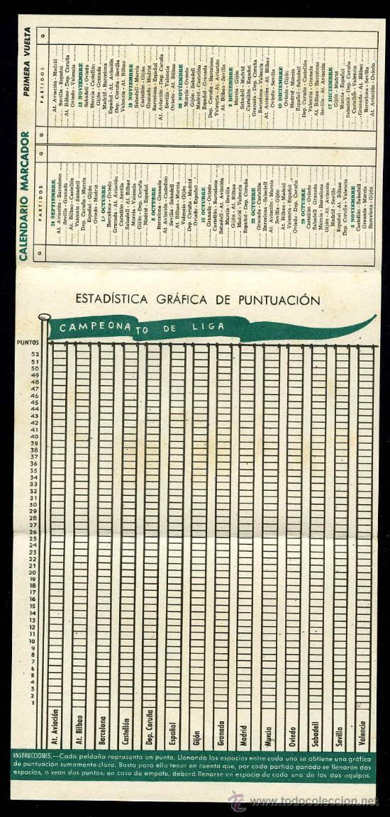 Coleccionismo deportivo: CALENDARIO TRIPTICO DE SEGUIMIENTO DE LA LIGA 1944/1945 - Foto 2 - 26913572