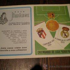 Coleccionismo deportivo: CALENDARIO FUTBOL LIGA 1966-67 PUBLICIDAD CASA JIMENEZ. Lote 24427478