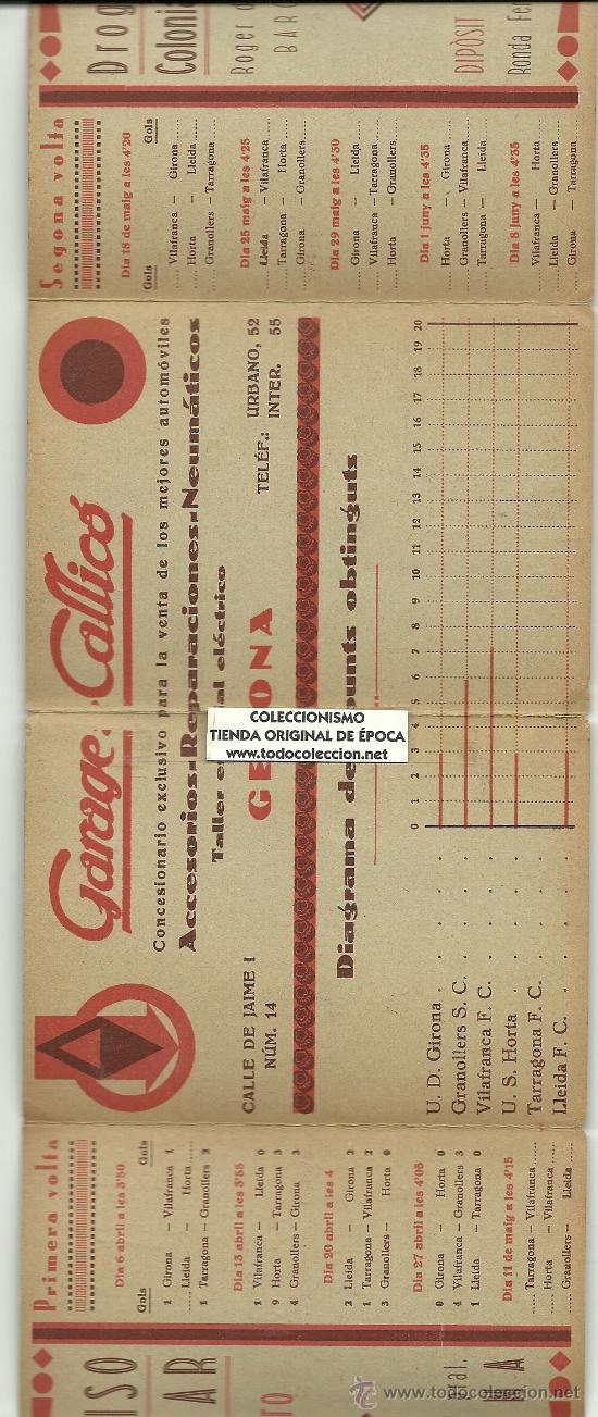 Coleccionismo deportivo: (5949-F)CALENDARIO PUBLICITARIO FUTBOL TORNEIG D´ELIMINATORIES 2ªCATEGORIA PREFERENT 1929-1930 - Foto 2 - 23295323