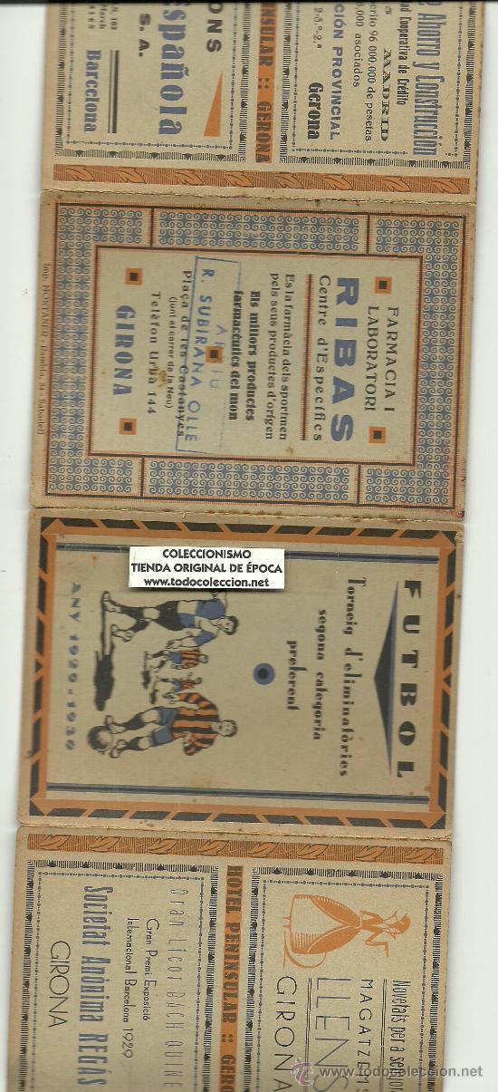 Coleccionismo deportivo: (5949-F)CALENDARIO PUBLICITARIO FUTBOL TORNEIG D´ELIMINATORIES 2ªCATEGORIA PREFERENT 1929-1930 - Foto 3 - 23295323