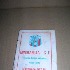 Coleccionismo deportivo: LIBRITO CALENDARIO LIGA. MINGLANILLA (CUENCA), SEGUNDA REGIONAL VALENCIANA. TEMPORADA 1987-88.. Lote 27078613