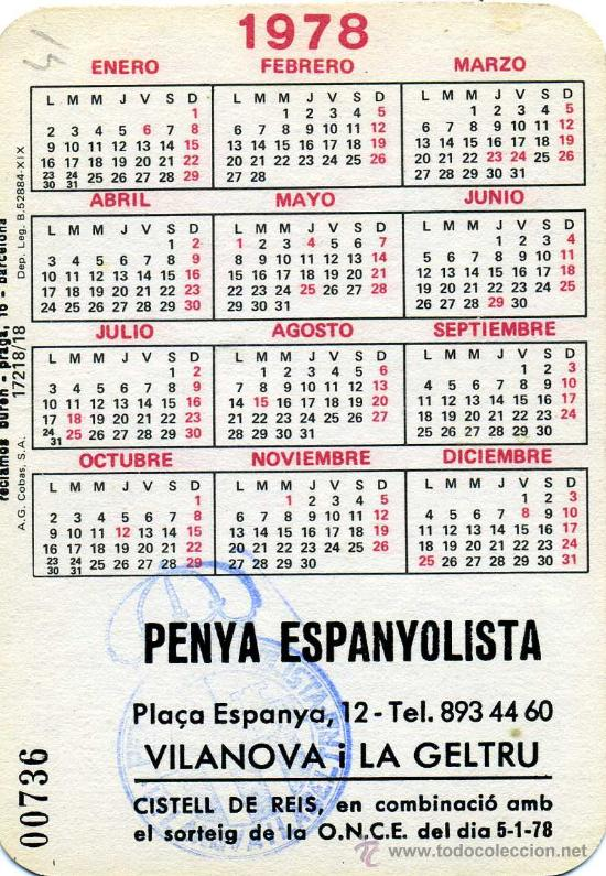 1978 Calendario.Calendario Bolsillo 1978 Pena Espanol Vilanova Geltru Once Futbol Erotica Foto Adicional