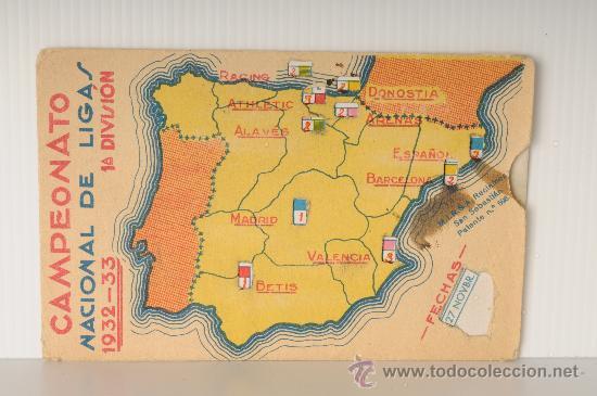 CALENDARIO DE FUTBOL. CAMPEONATO NACIONAL DE LIGAS 1932-33, PRIMERA DIVISION (Coleccionismo Deportivo - Documentos de Deportes - Calendarios)