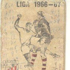 Coleccionismo deportivo: CALENDARIO DE FUTBOL 1966-67 RESTAURANTE SABIGAIN DE BILBAO. Lote 26818733