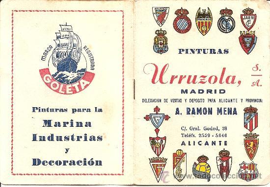 CALENDARIO PUBLICITARIO DINÁMICO LIGA 1957 - 1958? - ORIGINAL DE ÉPOCA - PINTURAS URRIZOLA MADRID (Coleccionismo Deportivo - Documentos de Deportes - Calendarios)