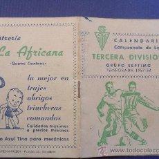 Coleccionismo deportivo: ANTIGUO CALENDARIO TERCERA DIVISION CLUB DEPORTIVO JUPITER TEMPORADA 1957 - 1958 VER FOTOS. Lote 30891444