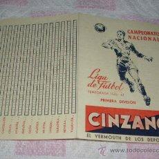 Coleccionismo deportivo: CALENDARIO LIGA 1946-47 - PUBLICIDAD CINZANO. Lote 32244171