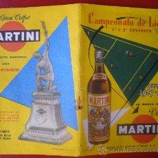 Coleccionismo deportivo: CALENDARIO CAMPEONATO DE LIGA 1ª Y 2ª DIVISION 1957 1958 VERMUT MARTINI VERMOUTH. Lote 32760523