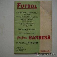 Coleccionismo deportivo: CAMPEONATO NACIONAL DE FUTBOL 1967-68,..1ª-2ª Y TERCERA DIVISION GRUPO 9º Y 1ª REGIONAL VALENCIANA. Lote 33369647