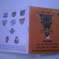 GUIA DINAMICO (1961 - 1987) - XXVII CANPEONATOS RECOPA DE EUROPA - CLUBS CAMPEONES DE COPA - FUTBOL