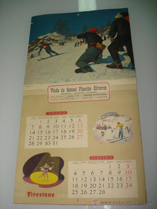 Coleccionismo deportivo: Antiguo Calendario de Pared Bellas Estampas Deportivas de FIRESTONE del Año 1957. - Foto 2 - 34018493