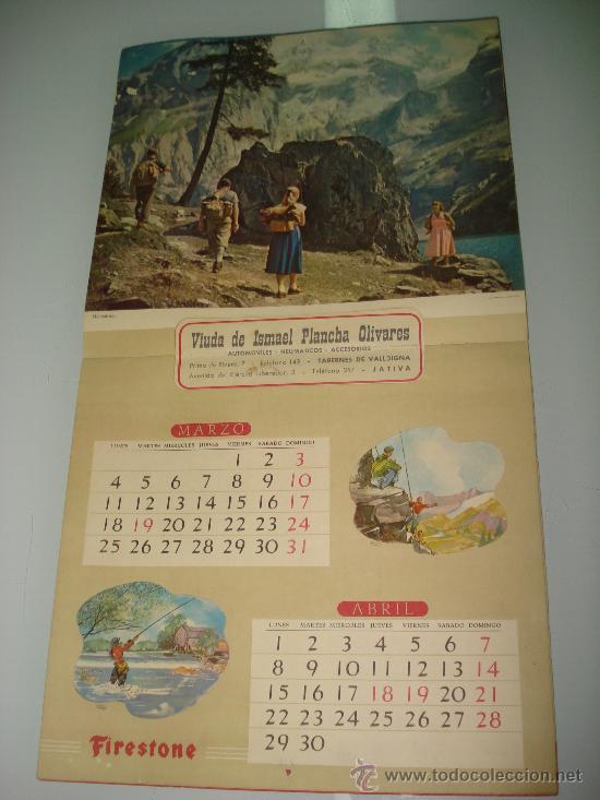 Coleccionismo deportivo: Antiguo Calendario de Pared Bellas Estampas Deportivas de FIRESTONE del Año 1957. - Foto 3 - 34018493