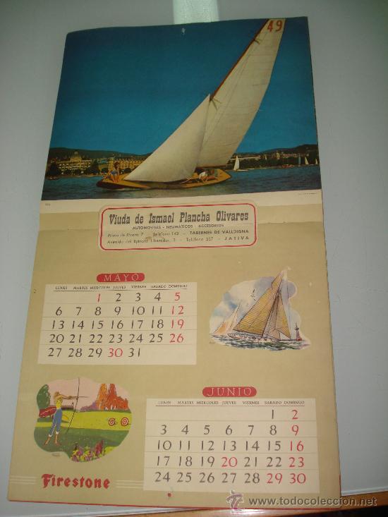 Coleccionismo deportivo: Antiguo Calendario de Pared Bellas Estampas Deportivas de FIRESTONE del Año 1957. - Foto 7 - 34018493