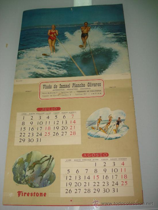 Coleccionismo deportivo: Antiguo Calendario de Pared Bellas Estampas Deportivas de FIRESTONE del Año 1957. - Foto 6 - 34018493