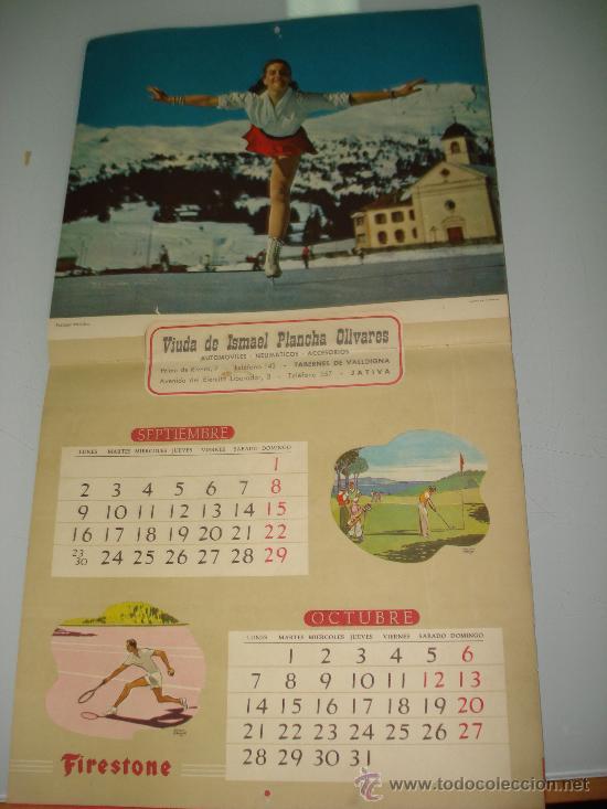 Coleccionismo deportivo: Antiguo Calendario de Pared Bellas Estampas Deportivas de FIRESTONE del Año 1957. - Foto 5 - 34018493