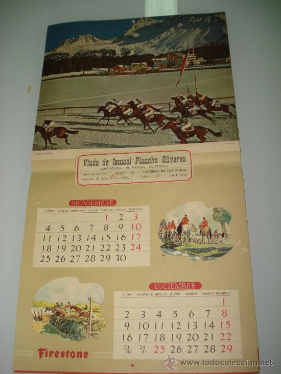 Coleccionismo deportivo: Antiguo Calendario de Pared Bellas Estampas Deportivas de FIRESTONE del Año 1957. - Foto 8 - 34018493