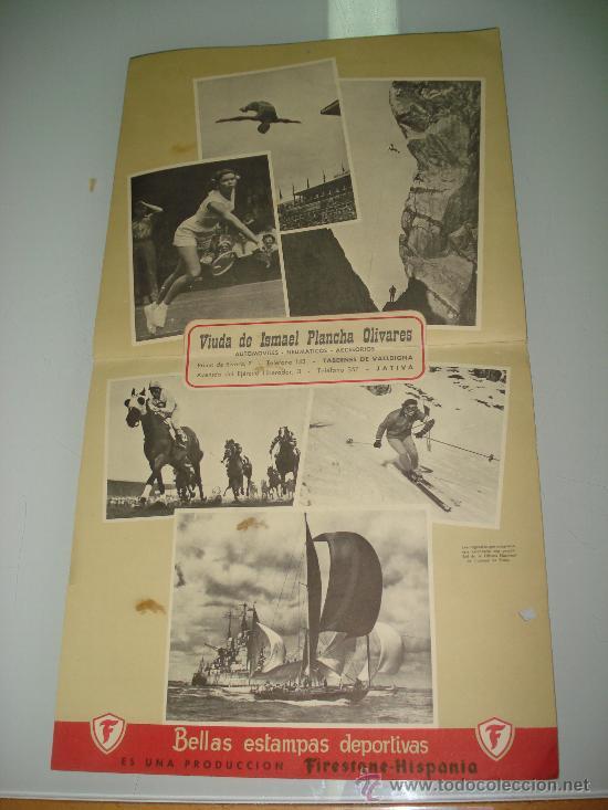 ANTIGUO CALENDARIO DE PARED BELLAS ESTAMPAS DEPORTIVAS DE FIRESTONE DEL AÑO 1957. (Coleccionismo Deportivo - Documentos de Deportes - Calendarios)