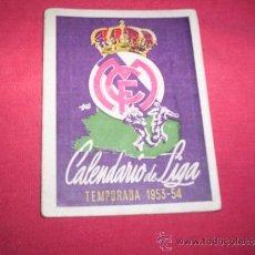 Coleccionismo deportivo: RARO CALENDARIO LIGA FUTBOL 1953-54 ESCUDO REAL MADRID PUBLICIDAD. Lote 35678144