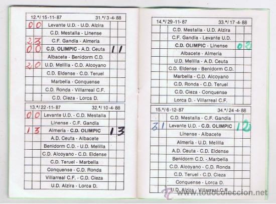 olimpic de xativa calendario 1987/88 grupo 4 se - Comprar ...