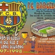 Coleccionismo deportivo: MUY INTERESANTE ALMANAQUE DE BOLSILLO - F.C.CAMPEÓN 97-98 TRIPLETE - PUBLICIDAD EN REVERSO (VISITAR). Lote 37567694