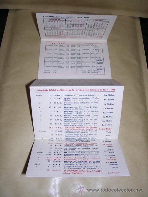 Coleccionismo deportivo: CALENDARIO - GUIA DEL ESQUIADOR TEMP. 1955-56 -LA MOLINA - NURIA , Y CONCURSOS FEDERACION CATALANA - Foto 2 - 37899088
