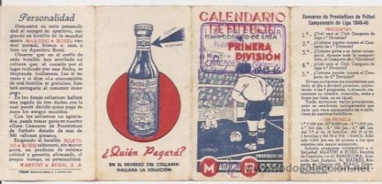 CALENDARIO DE FÚTBOL DE LA LIGA 1945-46. PUBLICIDAD DE MARTINI (Coleccionismo Deportivo - Documentos de Deportes - Calendarios)