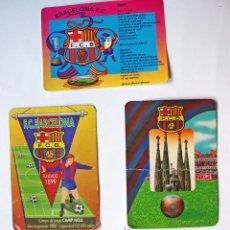 Coleccionismo deportivo: FUTBOL CLUB BARCELONA 3 ALMANAQUES DE BOLSILLO AÑOS 1996-97 Y 98, UNO DE ELLOS DOBLADO EN EL CENTRO,. Lote 38999034