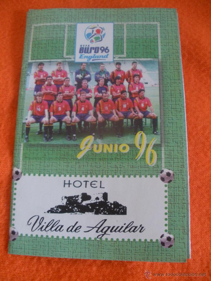 CALENDARIO DE FUTBOL DE LA EUROCOPA 96. PUBLICIDAD VILLA DE AGUILAR DE CAMPOO. (Coleccionismo Deportivo - Documentos de Deportes - Calendarios)